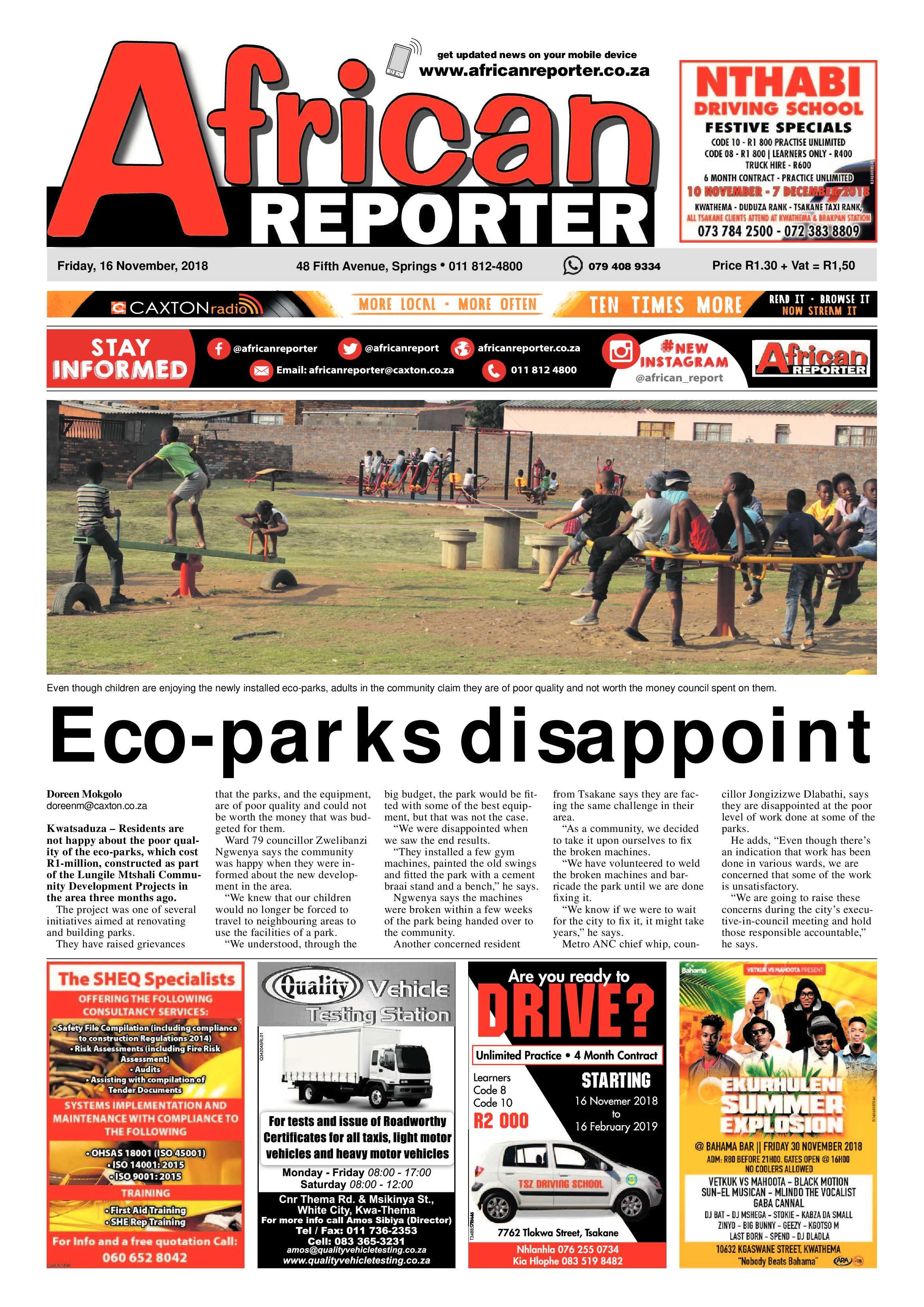 ed620912b African Reporter 16 November 2018 | African Reporter